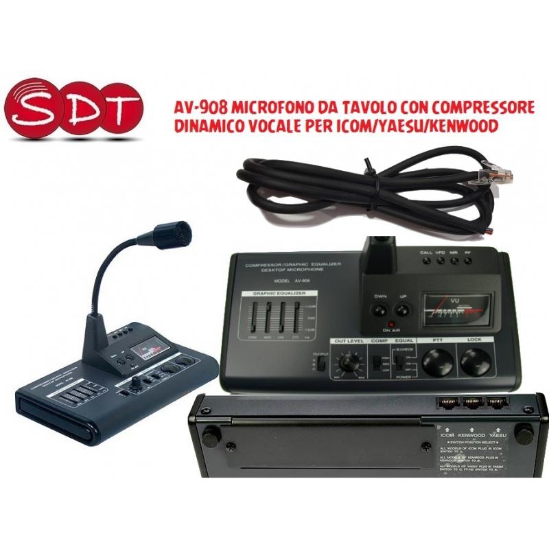 Av 908 microfono da tavolo con compressore dinamico vocale per icom yaesu kenwood s d t srl - Microfono da tavolo wireless ...