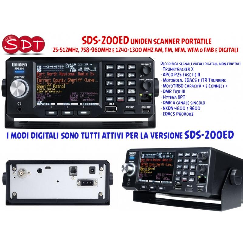 SDS-200ED UNIDEN SCANNER PORTATILE 25-512MHz, 758-960MHz e 1240-1300