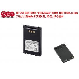 "BP-271 BATTERIA ""ORIGINALE"" ICOM BATTERIA Li-Ion 7,4V/1.150mAh PER ID-31, ID-51, IP-100H"