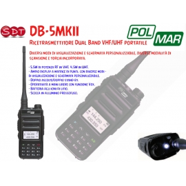 DB-5 POLMAR DUAL BAND VHF/UHF 5 WATT 144/430 (136/174 - 400/480) INCLUSO MIC/AUR