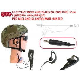 EG-07C/A507 MICRO-AURICOLARE CON CONNETTORE 3,5mm E SUPPORTO, CAVO SPIRALATO PER MIDLAND/ALAN/POLMAR HUNTER