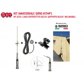 "Kit CB SIRIO KIT1 FLEX-LOG 3, BASE 3/8"", SUPPORTO ANTENNA INOX, CAVO 4MT RG 58"