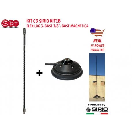 "Kit CB SIRIO KIT1 FLEX-LOG 3, BASE 3/8"", SUPPORTO ANTENNA INOX, CAVO 4MT RG 58"