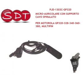 PJD-1303C-GP320 MICRO-AURICOLARE CON SUPPORTO CAVO SPIRALATO PER MOTOROLA GP320-328-340-360-380, MULTIPIN