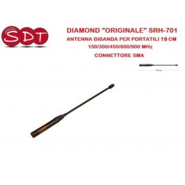 """DIAMOND """"ORIGINALE"""" SRH-701 ANTENNA BIBANDA PER PORTATILI 19 CM 150/300/450/800/900 MHz - CONNETTORE SMA"""