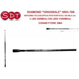 """DIAMOND """"ORIGINALE"""" SRH-789 ANTENNA TELESCOPICA PER PORTATILI 20~80,5 cm ¼ (95-300MHz) 5/8 (300-1000MHz) - CONNETTORE SMA"""