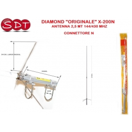 "DIAMOND ""ORIGINALE"" X-200N ANTENNA 2,5 MT 144/430 MHZ - CONNETTORE N"