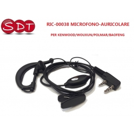 RIC-00038 MICROFONO-AURICOLARE CON SUPPORTO PER KENWOOD/WOUXUN/POLMAR/BAOFENG