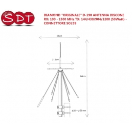 "DIAMOND ""ORIGINALE"" D-190 ANTENNA DISCONE RX: 100 - 1500 MHz TX: 144/430/904/1200 (50Watt) - CONNETTORE SO239"