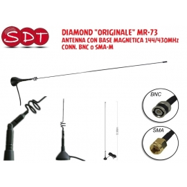 "DIAMOND ""ORIGINALE"" MR-73 ANTENNA CON BASE MAGNETICA 144/430MHz CONN. BNC o SMA-M"