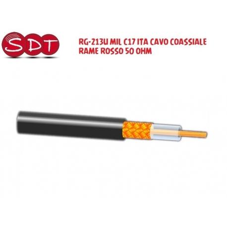RG-213U MIL C17 ITA CAVO COASSIALE RAME ROSSO 50 OHM