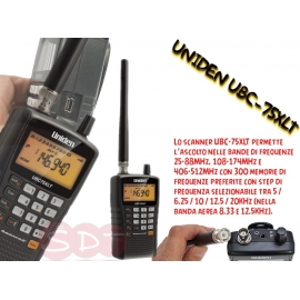 UBC-75XLT UNIDEN SCANNER PORTATILE 25-88 / 108-174 / 406-512 MHZ