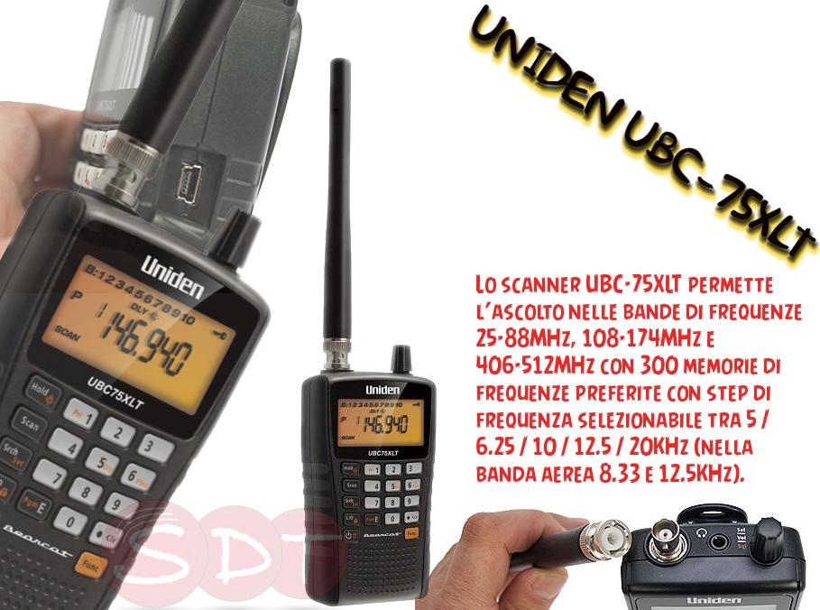 Ubc 75xlt uniden scanner portatile 25 88 108 174 406 512 mhz