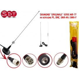 "DIAMOND ""ORIGINALE"" SERIE MR-77 ANTENNA CON BASE MAGNETICA 144/430MHz IN VERSIONE PL, BNC, SMA-M, SMA-F"