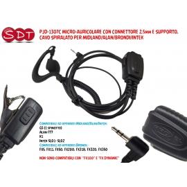 PJD-1307C MICRO-AURICOLARE CON CONNETTORE 2,5mm E SUPPORTO, CAVO SPIRALATO PER MIDLAND/ALAN/BRONDI/INTEK