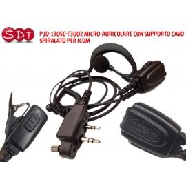 PJD-1305C-F3002 MICRO-AURICOLARE CON SUPPORTO CAVO SPIRALATO PER ICOM