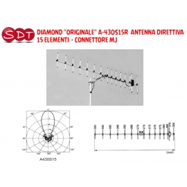 "DIAMOND ""ORIGINALE"" A-430S15R ANTENNA DIRETTIVA 15 ELEMENTI CONNETTORE MJ"