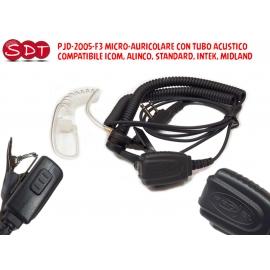 PJD-2005-F3 MICRO-AURICOLARE CON TUBO ACUSTICO COMPATIBILE ICOM, ALINCO, STANDARD, INTEK, MIDLAND