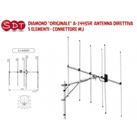 "DIAMOND ""ORIGINALE"" A-144S10R ANTENNA DIRETTIVA 10 ELEMENTI CONNETTORE MJ"