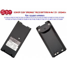 "ICOM BP-210N ""ORIGINALE"" PACCO BATTERIA Ni-Mh 7.2V - 1650mA/h PER ICOM IC-T3H/V82/A6/F3"