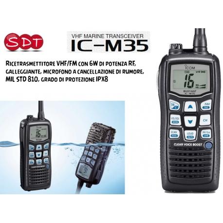 ICOM IC-M35 RICETRASMETTITORE VHF NAUTICO 6 WATT DI POTENZA RF, GALLEGGIANTE, MICROFONO A CANCELLAZIONE DI RUMORE, IPX8