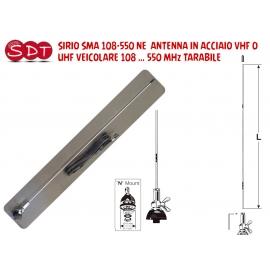 SIRIO SMA 108-550 NE ANTENNA IN ACCIAIO VHF O UHF VEICOLARE 108 … 550 MHz TARABILE