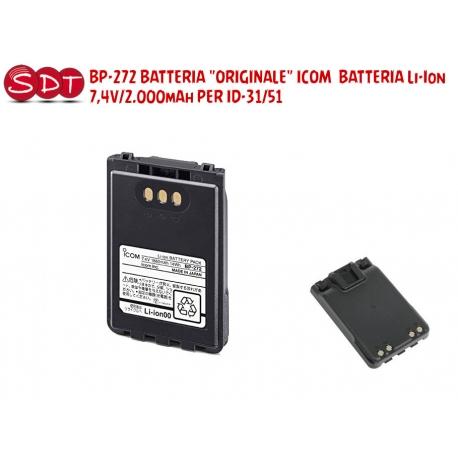 "BP-272 BATTERIA ""ORIGINALE"" ICOM BATTERIA Li-Ion 7,4V/2.000mAh PER ID-31, ID-51, IP-100H"