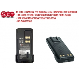 AP-4416-LI BATTERIA 7,4V 2000Mah Li-Ion MOTOROLA SERIE DP-4000/6401, DP-2400/2600 XPR3000/3300/3500/7000/7350/7550