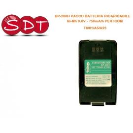 BP-200H PACCO BATTERIA RICARICABILE Ni-Mh 9.6V - 750mA/h PER ICOM T8/81/A5/A23