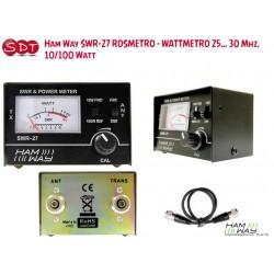 Ham Way SWR-27 ROSMETRO - WATTMETRO 25... 30 Mhz, 10/100 Watt