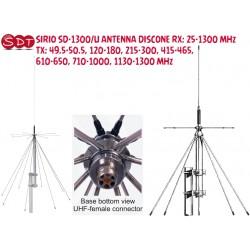 SIRIO SD-1300/U ANTENNA DISCONE RX: 25-1300 MHz TX: 49.5-50.5, 120-180, 215-300, 415-465, 610-650, 710-1000, 1130-1300 MHz