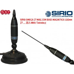 SIRIO OMEGA 27 MAG CON BASE MAGNETICA 100mm, ANTENNA CB VEICOLARE, FREQUENZA 27-28.5 Mhz TARABILE