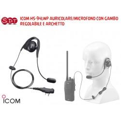 ICOM HS-94LWP AURICOLARE/MICROFONO CON GAMBO REGOLABILE E ARCHETTO