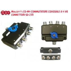 Malcott's CO-M4 COMMUTATORE COASSIALE A 4 VIE CONNETTORI SO-239