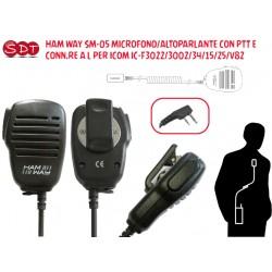 HAM WAY SM-05 MICROFONO/ALTOPARLANTE CON PTT E CONN.RE A L PER ICOM IC-F3022/3002/34/15/25/V82