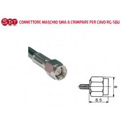 CONNETTORE MASCHIO SMA A CRIMPARE PER CAVO RG-58U