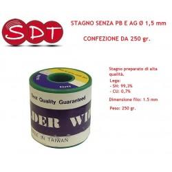 STAGNO SENZA PB E AG Ø 1,5 mm - CONFEZIONE DA 250 gr.