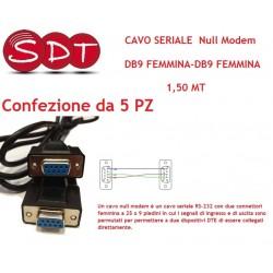 CAVO SERIALE NULL MODEM DB9 FEMMINA-DB9 FEMMINA 1,5 MT. CONFEZIONE DA 5 PZ