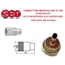 CONNETTORE MASCHIO UHF PL-259 BACHELITE (ALTA RESISTENZA ALLE SALDATURE) PER CAVO  RG-213-8AU