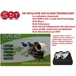VD-KIT2A DVR 4CH CLOUD TECHNOLOGY + 2 TELECAMERE + CAVI + MOUSE