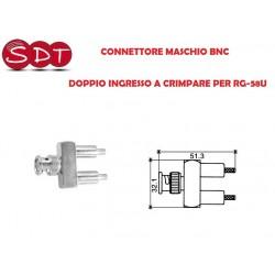 CONNETTORE MASCHIO BNC  DOPPIO INGRESSO A CRIMPARE PER RG-58U