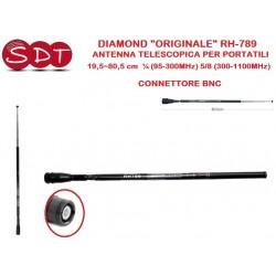 """DIAMOND """"ORIGINALE"""" RH-789 ANTENNA TELESCOPICA PER PORTATILI 19,5~80,5 cm  ¼ (95-300MHz) 5/8 (300-1100MHz)  - CONNETTORE BNC"""