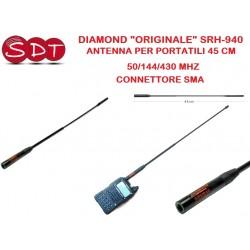 """DIAMOND """"ORIGINALE"""" SRH-940 ANTENNA PER PORTATILI 45 CM 50/144/430 MHZ - CONNETTORE SMA"""