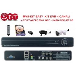 MVS-KIT EASY  KIT DVR 4 CANALI + 4 TELECAMERE 600 LINEE + HARD DISK 500 GB