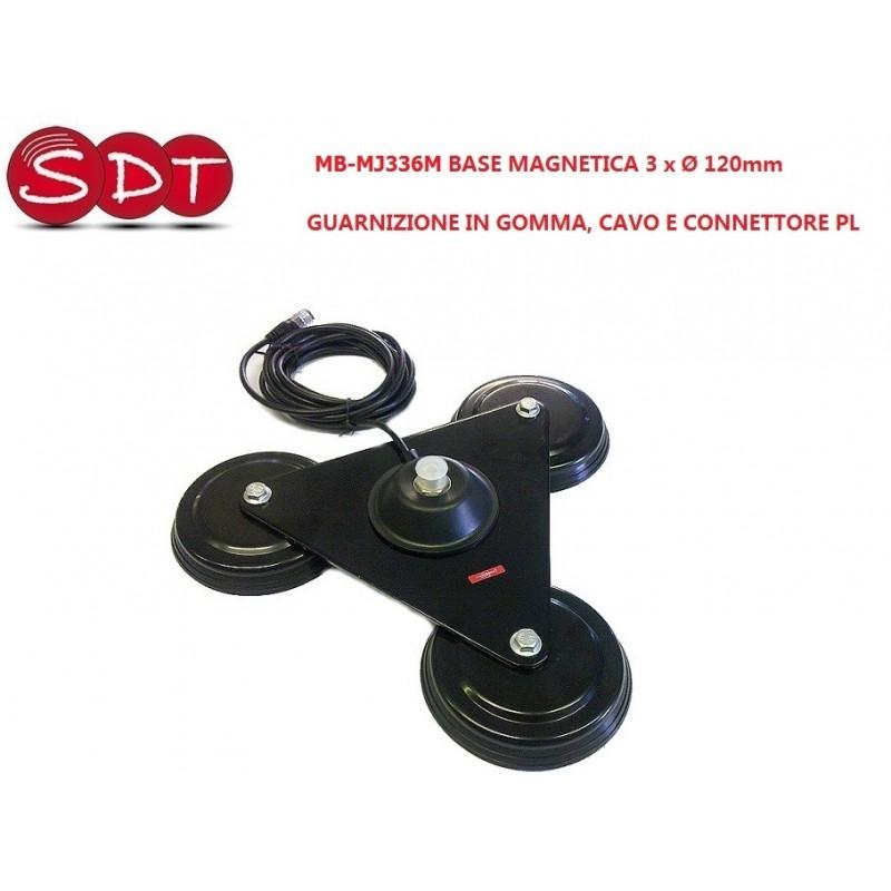 MB-MJ366M BASE MAGNETICA 3 x Ø 120mm GUARNIZIONE IN GOMMA, CAVO CONNETTORE PL
