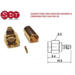 CONNETTORE SMA MASCHIO REVERSE A CRIMPARE PER CAVO RG-58