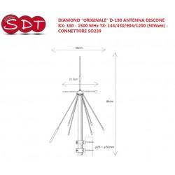"""DIAMOND """"ORIGINALE"""" D-190 ANTENNA DISCONE RX: 100 - 1500 MHz TX: 144/430/904/1200 (50Watt) - CONNETTORE SO239"""