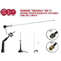 """DIAMOND """"ORIGINALE"""" MR-73 ANTENNA CON BASE MAGNETICA 144/430MHz CONN. BNC o SMA-M"""
