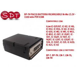 BP-7H PACCO BATTERIA RICARICABILE Ni-Mh 13.2V - 1100 mAh PER ICOM IC-2GAT IC-H16 IC-M12