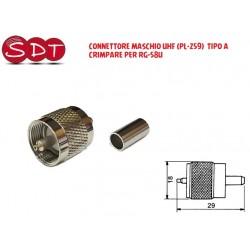 CONNETTORE MASCHIO UHF (PL-259)  TIPO A CRIMPARE PER RG-58U